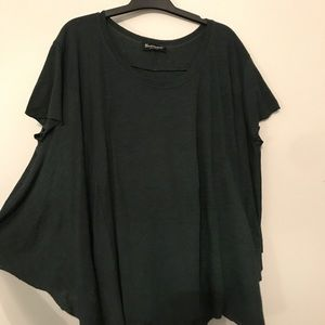 deep green flowy shirt with raw hems